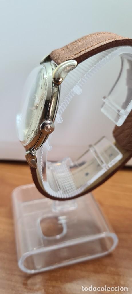 Vintage: Reloj (Vintage) CYMA Acero de cuerda calibre CYMA 586K, esfera blanca, agujas originales 17 rubíes. - Foto 7 - 255431650