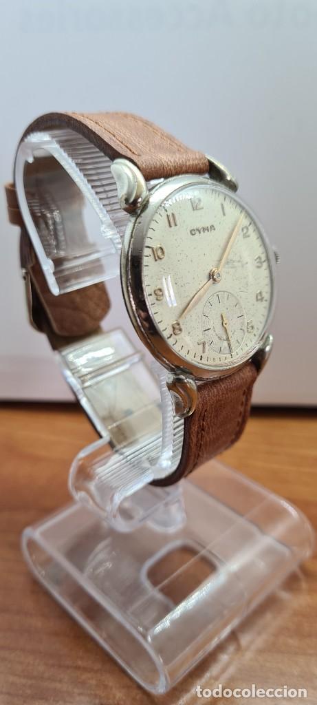 Vintage: Reloj (Vintage) CYMA Acero de cuerda calibre CYMA 586K, esfera blanca, agujas originales 17 rubíes. - Foto 8 - 255431650