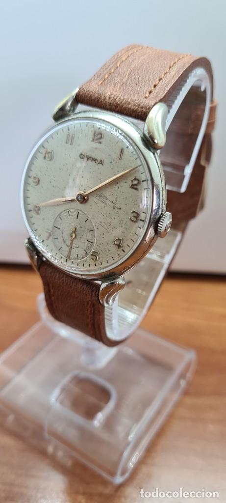 Vintage: Reloj (Vintage) CYMA Acero de cuerda calibre CYMA 586K, esfera blanca, agujas originales 17 rubíes. - Foto 9 - 255431650