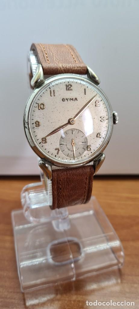 Vintage: Reloj (Vintage) CYMA Acero de cuerda calibre CYMA 586K, esfera blanca, agujas originales 17 rubíes. - Foto 10 - 255431650