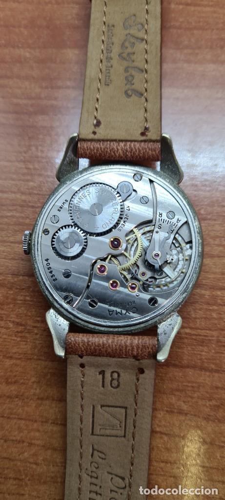 Vintage: Reloj (Vintage) CYMA Acero de cuerda calibre CYMA 586K, esfera blanca, agujas originales 17 rubíes. - Foto 11 - 255431650
