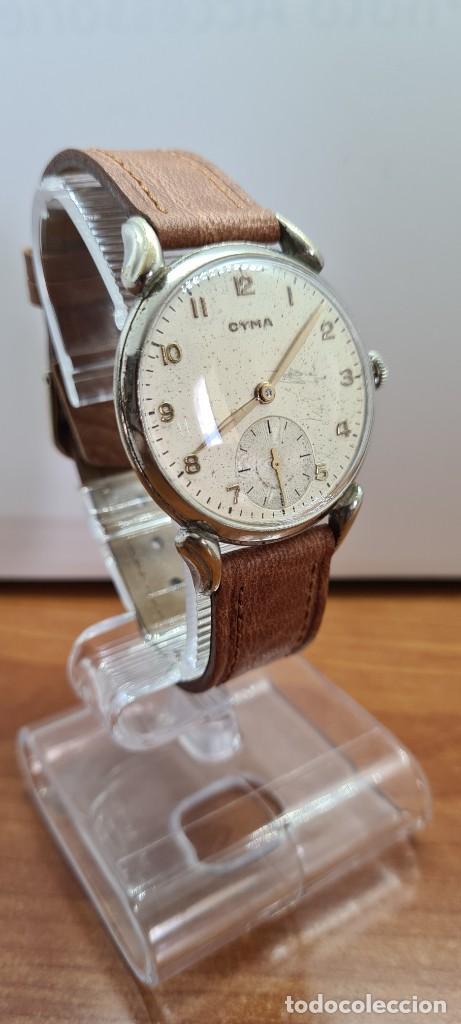 Vintage: Reloj (Vintage) CYMA Acero de cuerda calibre CYMA 586K, esfera blanca, agujas originales 17 rubíes. - Foto 12 - 255431650