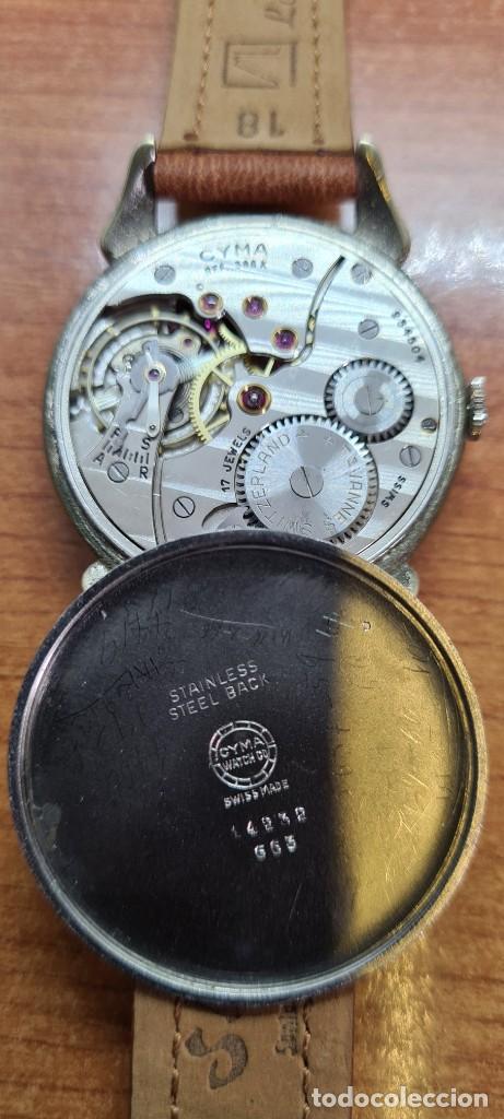Vintage: Reloj (Vintage) CYMA Acero de cuerda calibre CYMA 586K, esfera blanca, agujas originales 17 rubíes. - Foto 13 - 255431650