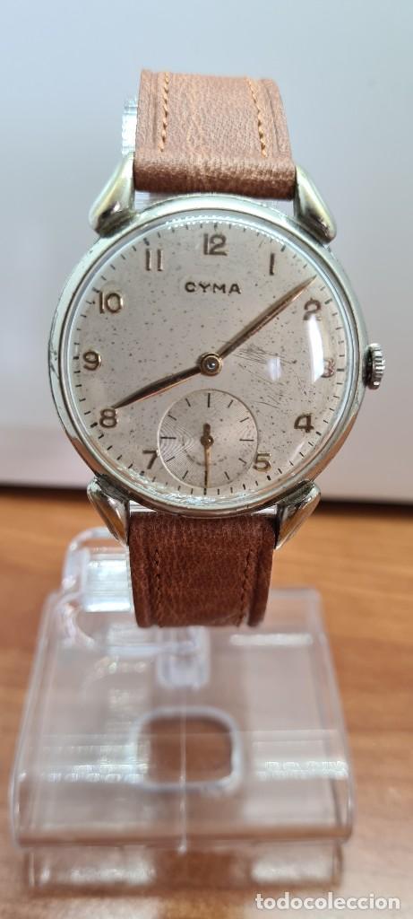 Vintage: Reloj (Vintage) CYMA Acero de cuerda calibre CYMA 586K, esfera blanca, agujas originales 17 rubíes. - Foto 14 - 255431650