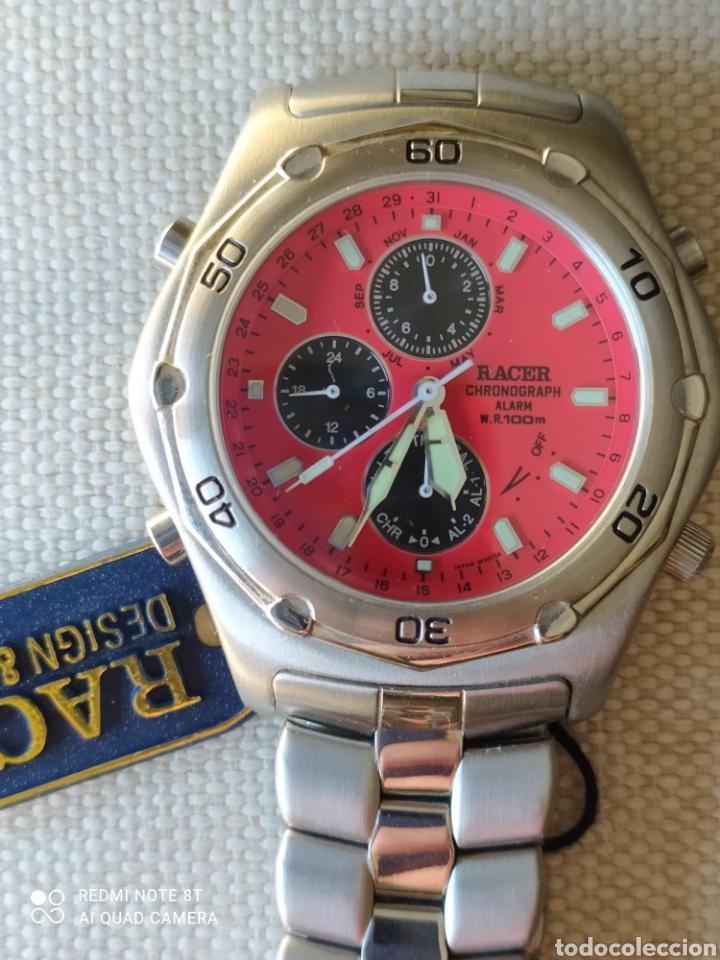 Vintage: Reloj Racer cronógrafo alarma, W.R.100 metros, de stock - Foto 2 - 261065325