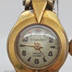 Vintage: RELOJ PULSERA 15 JOYAS STARVEX * RELOJ PARA SEÑORA AÑOS 50 ORO 10 MICRAS. Lote 263030305