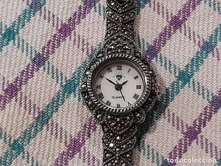 ANTIGUO RELOJ Y CORREA EN PLATA DE LEY Y MARQUESITAS, MOVIMIENTO DE CUARZO MIYOTA, JAPAN (Relojes - Relojes Vintage )