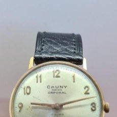 Vintage: RELOJ CABALLERO (VINTAGE) CAUNY, CAPORAL. CUERDA MANUAL 17 RUBIS, CHAPADO DE ORO, CORREA DE CUERO.. Lote 280218578