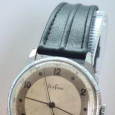 Vintage: RELOJ (VINTAGE) PERFINE CUERDA MANUAL, SEGUNDERO CENTRAL EN ACERO CON 15 RUBÍS, CORREA CUERO NUEVA.. Lote 280443538