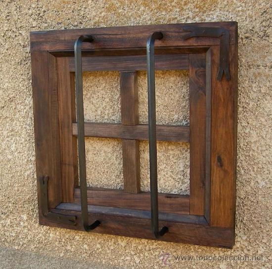 Ventana rustica madera con rejas forjada ven comprar for Rejas de madera