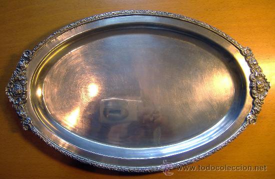 BANDEJA VINTAGE METAL PLATEADO 30X22 (Vintage - Varios)
