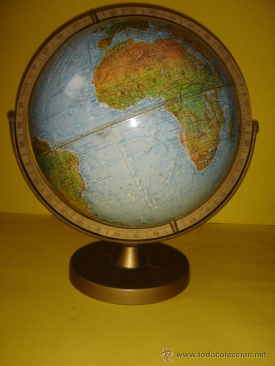 esplndido globo terrqueo poltico y fsico en relieve original cm