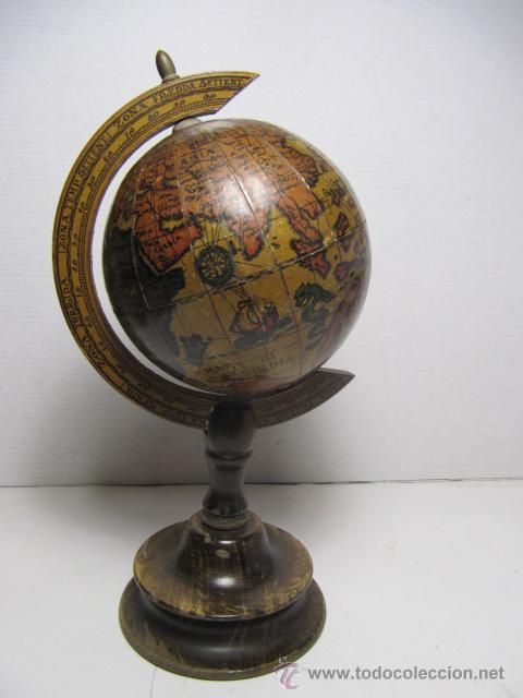 Bola del mundo de madera mapa tipo antiguo map comprar - Bola del mundo decoracion ...