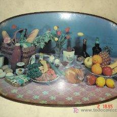 Vintage: BANDEJA DE CARTON PIEDRA DECORADA CON MOTIVOS GASTRONOMICOS - 45 X 30 CM. Lote 20780324