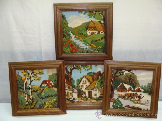 bonito trabajo manual, 4 antiguos cuadros borda - Comprar en ...