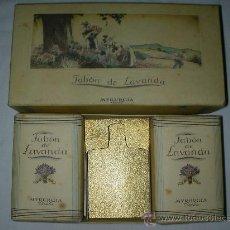 Vintage: ANTIGUA CAJA JABON DE LAVANDA MYRURGIA CON DOS JABONES NUEVOS. Lote 27663716