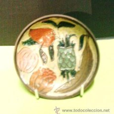Vintage: MINI BANDEJA / PLATO - DECORADA CON FRUTAS - METAL - ORIGINAL DE LA INDIA - AÑOS 70 - R - EP. Lote 28500310