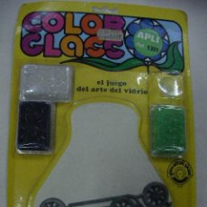 Vintage: ANTIGUO BLISTER COLOR GLASS MODEL DE COCHE DE METAL CON CRISTAL DE FUNDIR PARA VIDRIERA. Lote 28750000