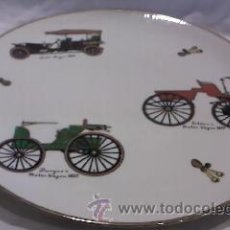 Vintage: GRANDE PLATO TARTERO CON DIBUJOS DE COCHES ANTIGUOS,1950 FILO CON ORO DE 24 K.MARCA WINTERLING. Lote 29699005
