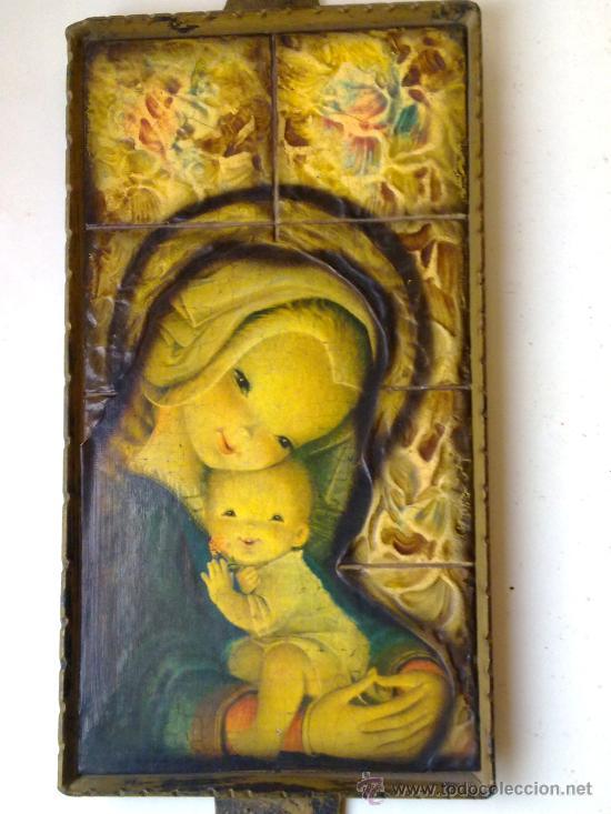 Vintage: precioso antiguo cuadro de la virgen 50 cm de largo y 29 x 16 collado valencia años 70 - Foto 2 - 29719265
