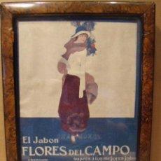 Vintage: PROPAGANDA DE JABON FLORES DEL CAMPO. ENMARCADO.. Lote 43652878