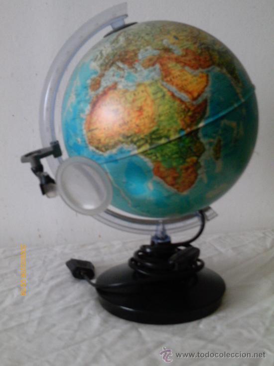 globo terraqueo con luz y lupa vintage decoracin varios