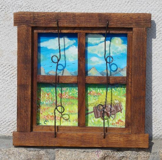 Ventana de madera decorativa con paisaje pintad comprar for Fabrica de aberturas de madera