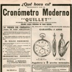 Vintage: CARTEL PUBLICIDAD DE PRENSA. RELOJ QUILLET. CRONOGRAFO .30X23CM. EN PAPEL. AÑO: 1928.. Lote 31793104