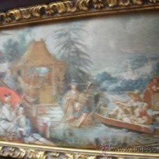 Vintage: ANTIGUA SEDA ENMARCADA CON REPLICA DE LA PÊCHE CHINOISE (1742) - MARCO MADERA. Lote 32133335