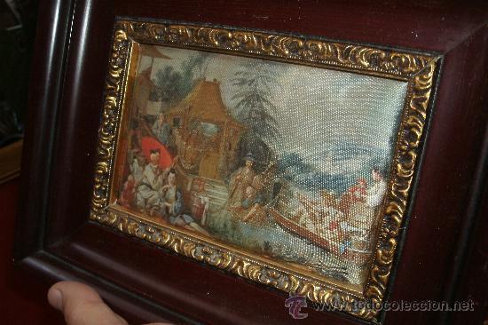 Vintage: ANTIGUA SEDA ENMARCADA CON REPLICA DE La pêche chinoise (1742) - Marco madera - Foto 8 - 32133335