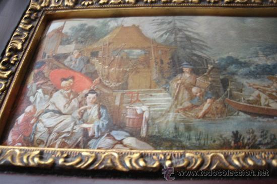Vintage: ANTIGUA SEDA ENMARCADA CON REPLICA DE La pêche chinoise (1742) - Marco madera - Foto 3 - 32133335