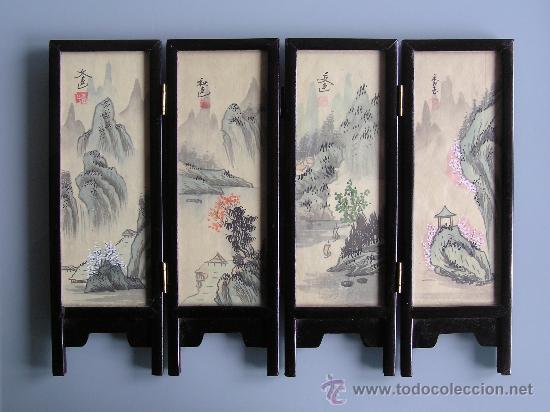 Bonito mini biombo chino pintado a mano sobre p comprar - Telas para biombos ...
