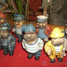 Vintage: COLECCIÓN DE 8 FIGURAS DE PESCADORES,MARINEROS,LOBOS DE MAR, PERSONAJES PORTUARIOS, CALIDAD. Lote 33134284