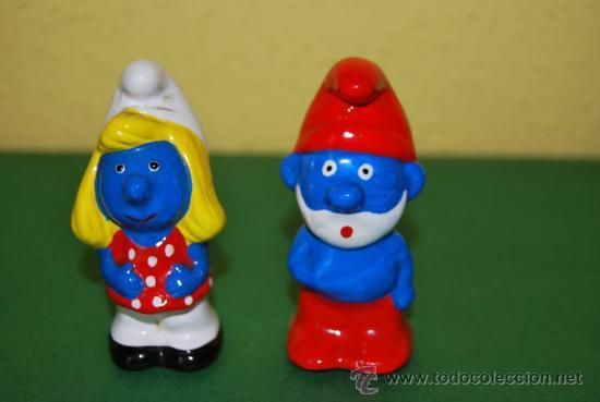 Papa pitufo y pitufina figuras de cer mica comprar for Figuras ceramica