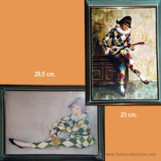 Vintage: PAR DE LITOGRAFIAS DE ARLEQUINES ENMARCADOS CON CRISTAL. MEDIDAS: 23 X 29,5 CM.. Lote 33362873