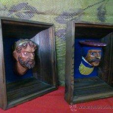 Vintage: PAREJA DE CUADROS BUSTOS EN ESCAYOLA. 70'S.... Lote 33500092