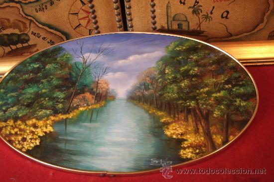 antiguo cuadro oval con dibujo de paisaje de ri  Comprar en