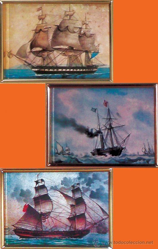 Vintage: TRES CUADRITOS DE BARCOS, ENMARCADOS, CRISTAL Y PAPARTOUS. PRECIOSOS Y MUY DECORATIVOS - Foto 2 - 33691370