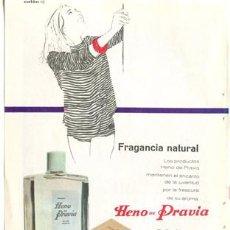 Vintage: PÁGINA PUBLICIDAD ORIGINAL *JABÓN · COLONIA · TALCO HENO DE PRAVIA -GAL*. AÑO 1962 - 13,2CMX18,7CM. Lote 34415134