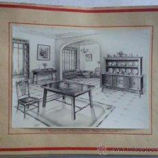 Vintage: ANTIGUA LAMINA, MUEBLES Y DECORACION, Nº 3 PROYECTOS DE GIMENEZ. Lote 34687926
