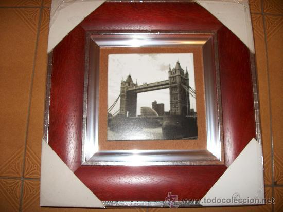 Vintage: CUADRO DUO - FOTO EN BLANCO Y NEGRO DEL LONDON BRIDGE Y PLAZA - 33x33CM - Foto 2 - 34991317