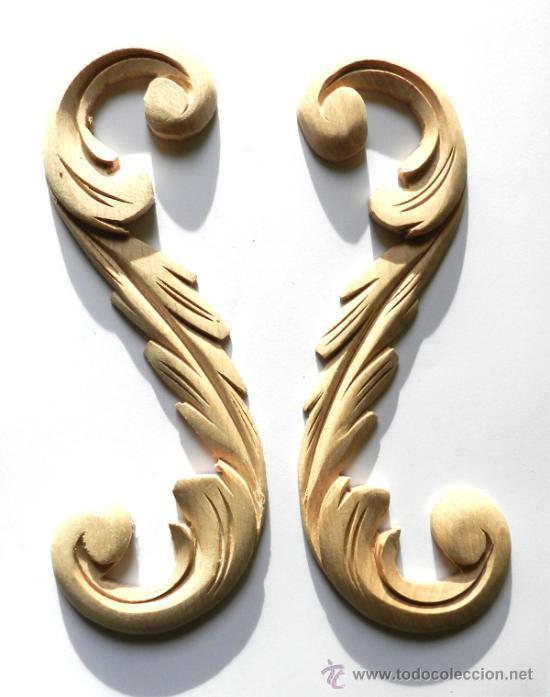2 adornos de madera para mueble o comoda medi Comprar en