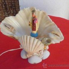Vintage: BONITA VIRGEN VINTAGE CON CONCHA LAMPARA. Lote 35510321