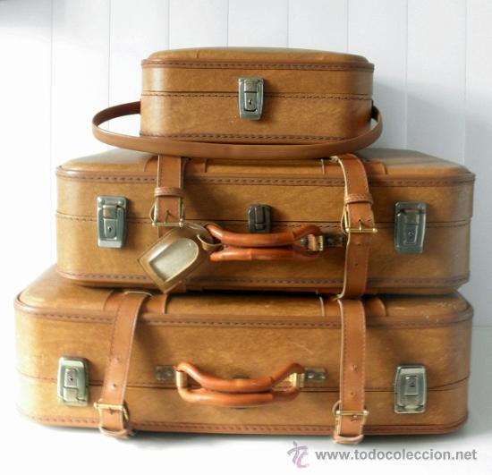 Juego de tres maletas vintage a os 60 comprar en for Maletas antiguas online
