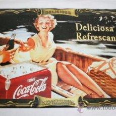 Vintage: BONITO CARTEL DE CHAPA DE COCA COLA - MARILYN MONROE. Lote 36253437