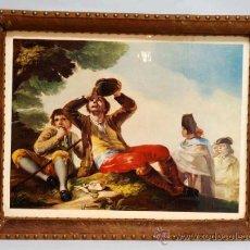Vintage: BANDEJA REALIZADA CON LAMINA DE FRANCISCO DE GOYA PIEL Y ASTA DE CIERVO AÑOS 50. Lote 36260836