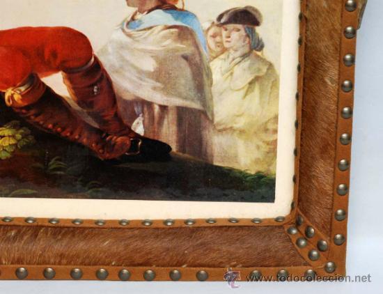 Vintage: Bandeja realizada con lamina de Francisco de Goya piel y asta de ciervo años 50 - Foto 2 - 36260836