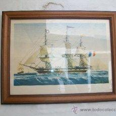 Vintage: CUADRO LITOGRAFIA DEL VELERO FRANCES LE JONAS (GRABADO DE L.LE BRETON). Lote 36713388