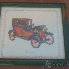 Vintage: ANTIGUO CUADRO COCHE LANCHESTER 1908 MARCO EN VERDE. Lote 37128819