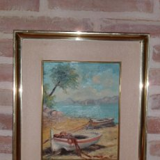 Vintage: VINTAGE CUADRO PINTURA OLEO PLAYA CHALUPAS MARCO DORADO. Lote 37746388